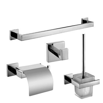 SUS 304 Chrome Silver Polish Bathroom Accessories Stainless Steel Bathroom Hardware Set Towel Rack/ Paper Holder/Brush Holder