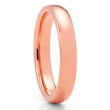 Rose Gold Tungsten Ring - 4mm - Rose Gold Tungsten - Tungsten Wedding Band