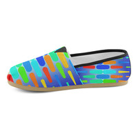 Colorful shapes on a blue background Women's Casual Shoes (Model 004) | ID: D861888