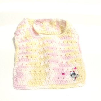 Baby Bib with Button closing-Light colors- Skull and crossbones Decals - Ready to Ship - Handmade Crocheted with Love by GSS-Beauty