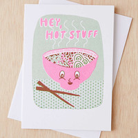 Yellow Owl Workshop Risograph Hey Hot Stuff Card - Urban Outfitters