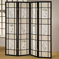 Black finish 4 panel room divider screen with floral design