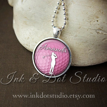 Personalized Golf Necklace, Custom Golf Pendant, Gift for Golfer, Women's Golf, Ladies Golf Ball Necklace, Golf Ball Pendant, White or Pink