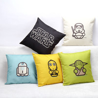 Hot Selling Cartoon Star Wars Series Cotton Linen Throw Pillow Sofa Office Back Cushion Baby Room Decorative SW174
