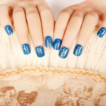 24Pcs Sea Blue Green Large Spangle Laser Glitter Sheet Fake Nails Tips Acrylic Designs False Nails Z146
