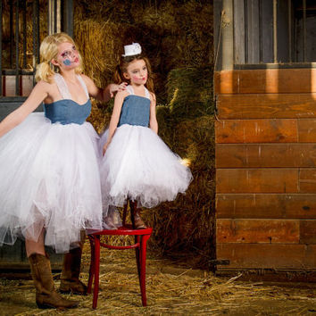 Adult denim tutu dress, baby doll style tutu dress, rustic wedding dress, cowgirl tutu dress, western wear tutu dress, denim and tulle