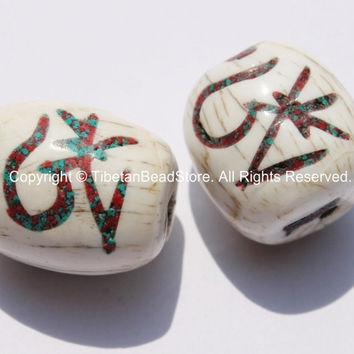 """2 BEADS - Tibetan """"OM"""" Mantra Naga Conch Shell Drum Barrel Shape Beads with Turquoise & Coral Inlay - Om Shell Beads - Om Beads - B2574-2"""