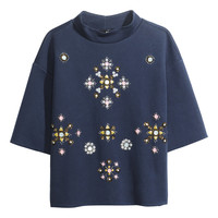 H&M - Beaded Sweatshirt - Dark blue - Ladies