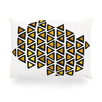 "Pom Graphic Design ""Inca Tribe"" Gold White Oblong Pillow"