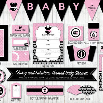 Classy and Fabulous Themed Baby Shower, Printable Party Pack, Baby Shower Decorations, DIY Party, Pink and Black (unofficial)