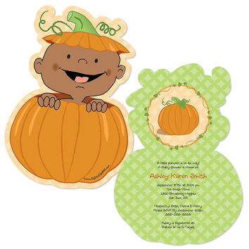 Baby Shower Invitations - Little Pumpkin African American