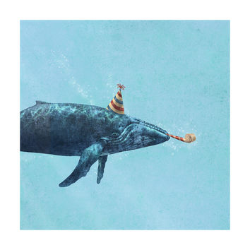 Party Whale Adhesive Art Print