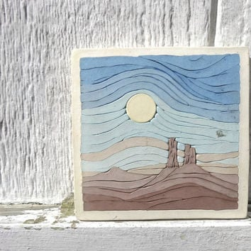 "Vintage Art Tile Southwestern Desert Earthtones Southwest Decorative Trivet Ceramic Pottery Clay 1980s Western Wall Hanging 5.5"" Square"