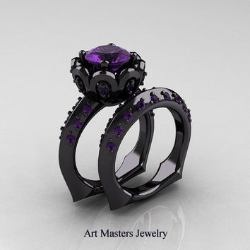 Classic 14K Black Gold 3.0 Ct Amethyst Greek Galatea Wedding Ring Wedding Band Bridal Set AR114S-14KBGAM