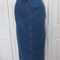 Vintage Long Denim Skirt Button Front Elastic Waist Jean Skirt Denim Maxi Skirt Womens Size 8 Hipster 80s 90s Grunge Pencil