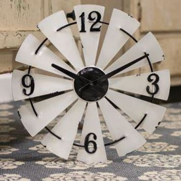 "Distressed Country Black & White Enamel 14"" Windmill Wall Clock"