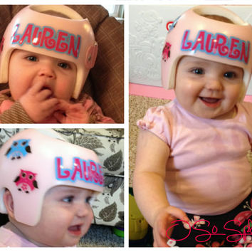 Personalized Cranial Band Decals - Plagiocephaly Helmet Stickers - Owl Design, You Choose Colors