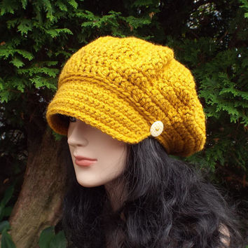 Mustard Yellow Newsboy Hat - Womens Crochet Cap  - Ladies Hat with Visor Brim - Chunky Hat