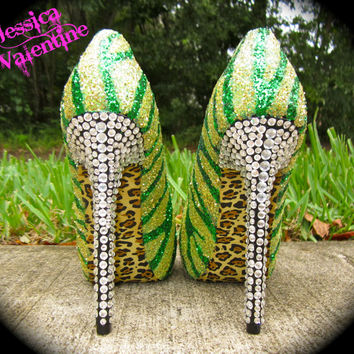 Zebra Green & Yellow Glitter Heels by RippedClothing on Etsy