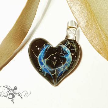 Love Porthole Heart Pendant - Glass Jewelry - Glass Art - Heart Pendant - Blown Glass - Heart Charm - Unique Bead Made with Pure Silver