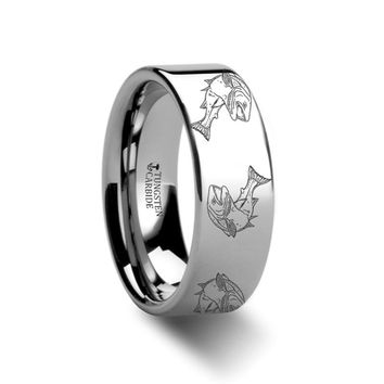 Sea Pattern - Trout Fish - Sea Print Ring - Laser Engraved - Flat Tungsten Ring - 4mm - 6mm - 8mm - 10mm - 12mm