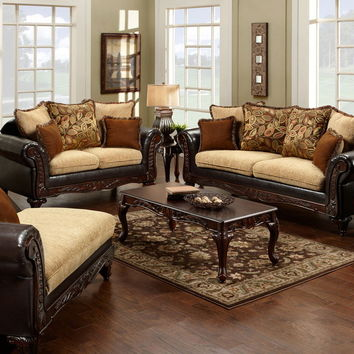 Furniture of america SM7430 2 pc doncaster classic light mocha espresso leatherette sofa and love seat set