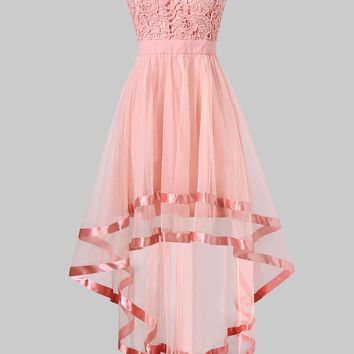 Pink Chiffon High Low Party Dress Summer Women Dresses Strapless Dress Sleeveless Short Front Long Back Party Gowns