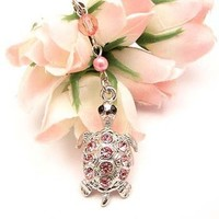 Pink King Turtle Cell Phone Charm Strap Cubic Stone