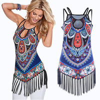 Plus Size Clothing  Women Tassel Tank Tops Summer Graphic Print Women Ethnic Halter Tops Fashion Casual Vest Tee Shirts