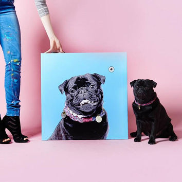 Custom Dog portrait Custom Dog Painting Custom Pet portrait Watercolor Painting Original Painting Memorial Art Custom Pug Portrait,gift idea