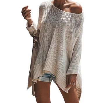 CALOFE Candy Color Sweater Women Casual Loose Streetwear Off Shoulder Pullovers Female Ladies Knitted Autumn Winter Sweater New
