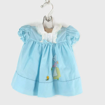 Vintage Blue Toddler Dress Vintage Girls Blue Dress Celanese Fortrel