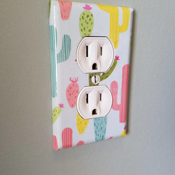 Cactus Light Switch And Outlet Covers | Rustic Nursery - Set of 4 - Southwestern Decor - Cacti Art - Southwestern Baby - Plant - Wall Art