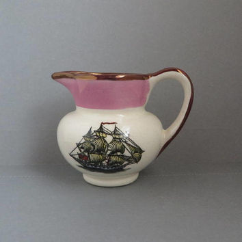 Vintage Gray's Pottery, Pink & Gold Luster Mini-Creamer, Hand Painted Clipper Ship, Small Collectible Creamer