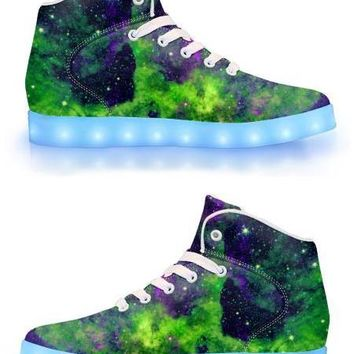 Green Galaxy - APP Controlled High Top LED Shoes