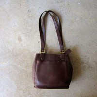 ONETOW 90s Leather COACH purse Rich Dark Brown Coach Shoulder Bag Double Strap Bag Vintage Me