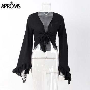 Tops and Tees T-Shirt Aproms Sexy V Neck Bow Tie Cross  Women Summer Black Long Sleeve T Shirt Crop Top Ladies Slim Cropped Tee Shirt Femme 40757 AT_60_4 AT_60_4