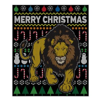Lion Ugly Christmas Sweater Wildlife Series Poster