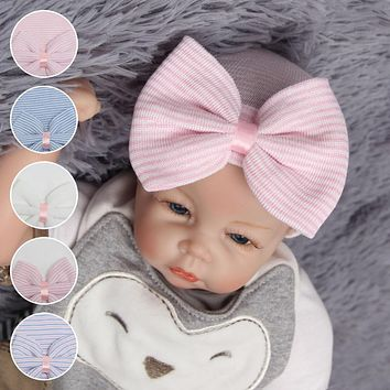 1pcs Newborn Baby Girl Hat Cotton Beanie With Bow Infant Soft Knitted Striped Bowtie Caps Baby Toddler Bowknot  Hat AccessoryD25