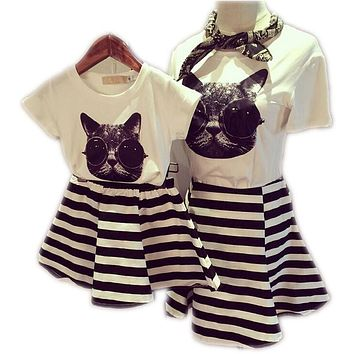 2017 Family Clothes Sets Matching Mother And Daughter Set Cotton Short-Sleeve T-Shirts Fashion Striped Mother Daughter Dresses