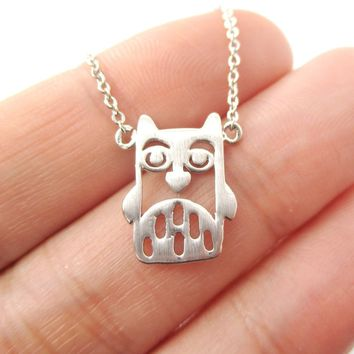 Owl Bird Cut Out Shaped Pendant Necklace in Silver | Animal Jewelry