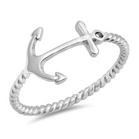 Sterling Silver Women's Ring Anchor Rope 11MM
