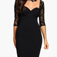 Black Floral Lace Sheer Sleeve with Sweetheart Neckline Bodycon Dress