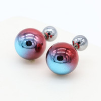 Red Colorful Ball Through Ball Earrings