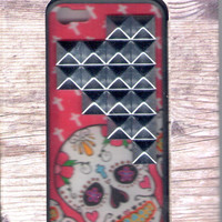 Wildflower Sugar Skull Silver Pyramid iPhone 5 Case
