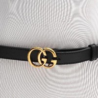 Gucci Black Leather & Gold GG Buckle Belt Size 40