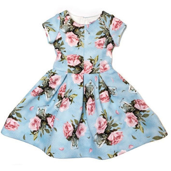 Monnalisa - Girls Antique Print Dress, Blue