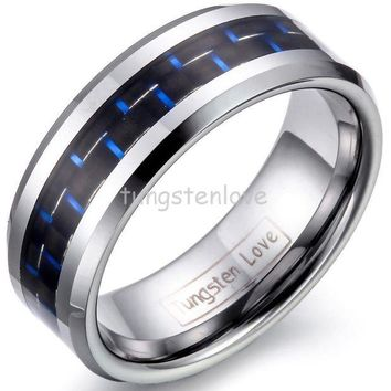 DCCKL6D 8mm Mens Tungsten Carbide Rings Wedding Band with Blue & Black Carbon Fiber Inlay Engagement Ring For Men Jewelry Gift for Boys