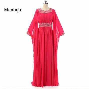 SML1593 robe de soiree Arabic women Gorgeous A line Chiffon Long sleeve Beaded 2017 Floor length long dubai muslim evening dress