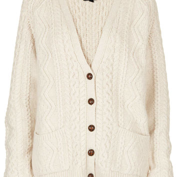 Knitted Angora Cable Cardi - Topshop USA